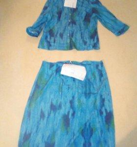 Костюм лёгкий, юбка макси и рубашка 46 размер