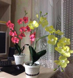 Орхидея из атласных лент