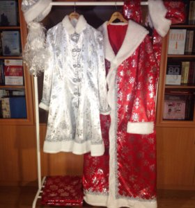 Костюмы Деда Мороза и Снегурочки атласные комплект
