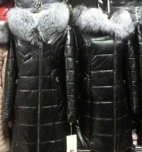 Женская куртка. Новая. Кожаная. Натуральный мех