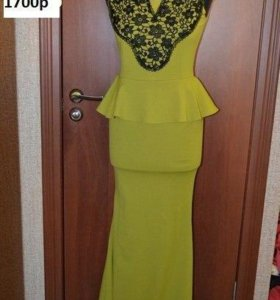 платье новое оливкого цвета