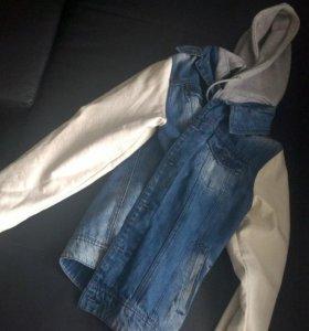 Куртка Zara джинсовая-кожанная с капюшоном