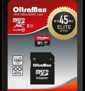Карта памяти oltramax 64GB 45MB U1microsd class 10