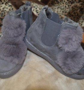 Женские супермодные ботиночки с мехом.