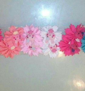 Резиночки для волос:зайки,цветочки,кошки,мишки,шля