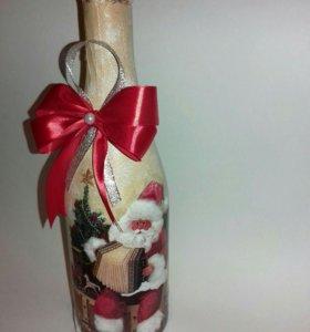 Новогодний декор бутылки шампанского