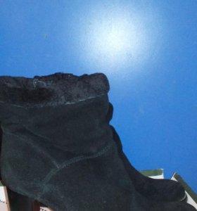 Натуральные замшевые сапоги на меху 37