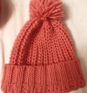 Шапка и шарф befree насыщенный персиково-розовый