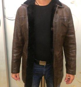 Пальто дубленка зимнее кожа