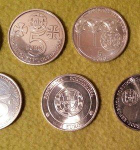Юбилейные 5 евро Португалии 2004-2007 серебро.