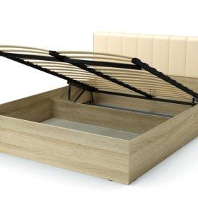 Кровать 160/200 , кожа беж с ящиком для белья.
