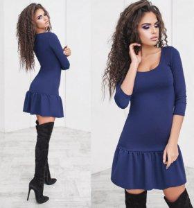 Платье стрейчевое синее 01346