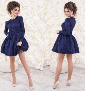 Платье из жаккарда нарядное с подъюбником 01459