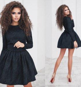 Платье из жаккарда нарядное с подъюбником 01362