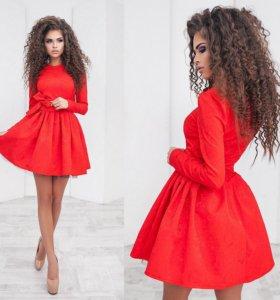 Платье из жаккарда нарядное с подъюбником 01363