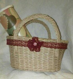Плетеные интерьерные сумочки