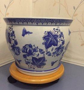 Горшок цветочный с блюдцем керамика