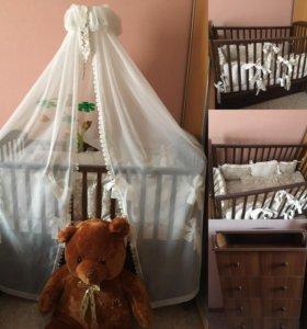 Набор кроватка+ пеленальный комод