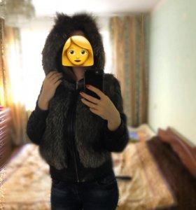 Срочно!Кожаная куртка трансформер с чернобуркой