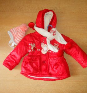 Куртка в комплекте с шапочкой и шарфом