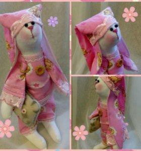 Заяц тильда в пижаме