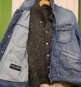 Мужская джинсовка с шерстяной кофтой dolce gabbana