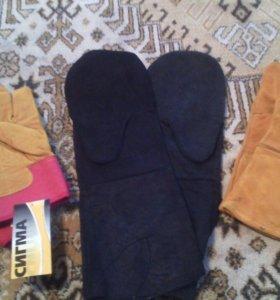 Перчатки термостойкие, рукавицы сварочные двупалые