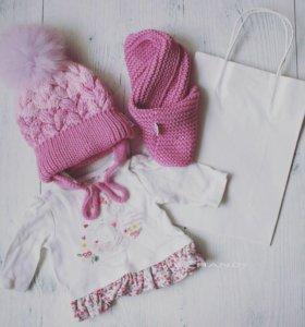 Детская зимняя шапка и снуд