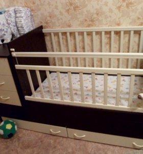 Детская кроватка с кокосовым матрацем