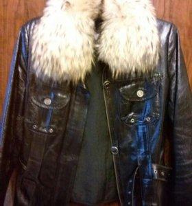 куртка натуральная кожа, мех енот