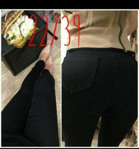 Брюки (джеггинсы, джинсы) утепленные, новые
