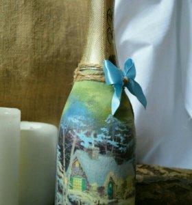 Новогоднее оформление бутылки