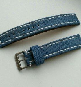 Ремешок для часов из кожи и джинса