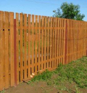 Забор из штакетника зазор 6 см h= 1,9 м ДШ 009 НО