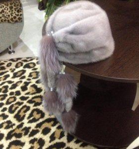 Шапка норковая с хвостиками из чернобурки.