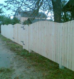 Забор из штакетника зазор 9 см h= 1,6 м ДШ 002 НО