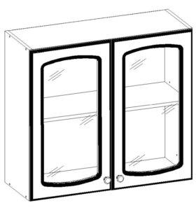 Шкаф навесной витражный с 2 дверками к модульной