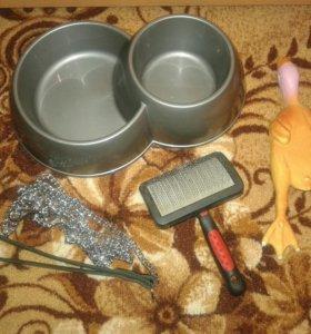 Для собак миска, поводок, игрушка, расческа