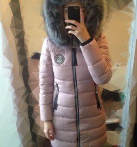 Пуховик пальто зимнее с мехом