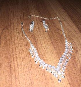 Ожерелье свадебное и серьги