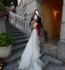 Изысканное итальянское свадебное платье. Шелк