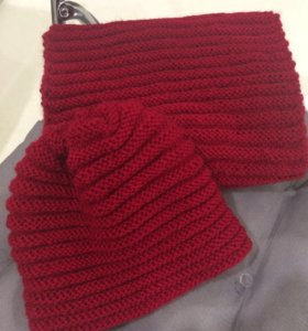 Комплект шапка и шарф, ручная вязка