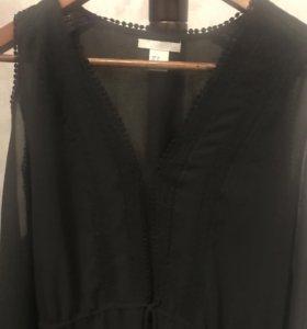 Чёрное шифоновое платье