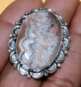 Кольцо женское натуральный Агат Серебро 925