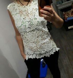 блуза, кофточка, майка, топ, гипюровая новая