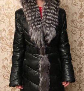 Пуховое кожаное пальто
