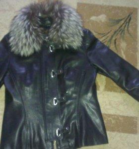 Натур., с тепл. подкладкой . Куртка кожаная.