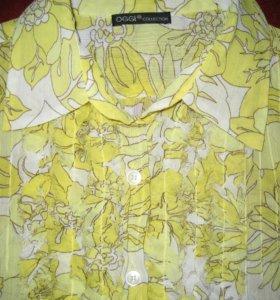 Жёлтая шифоновая блузка