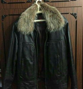 Куртка зимняя кожаная мужская 52р.