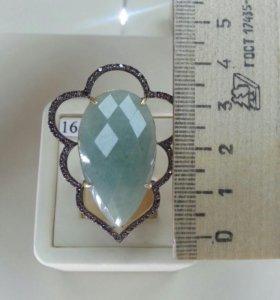 Серебряное кольцо с авантюрином (16,5 )